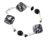 Picasso Stone Bracelet - Stunning dress up or down black semi-precious Picasso Stone designer bracelet.