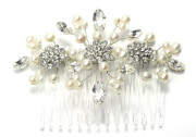 Sophia Comb - Vintage inspired stylish bridal comb with pretty diamante flowers and sprays of freshwater pearls and Swarovski crystals