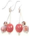 Clover Earrings - Sweet dusky pink glass bead and crystal fashion earrings from Julieann