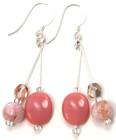 Clover Earrings - Sweet dusky pink glass bead and crystal fashion earrings from Julieann