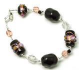 Soft Midnight Bracelet - Chic black Venetian style glass bead fashion bracelet