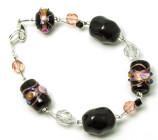 Soft Midnight Bracelet - Chic black Venetian style glass bead fashion bracelet