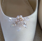 Isla Bridal Shoe Clips - A very pretty pair of pearl and diamante bridal shoe clips designed and handmade by Julieann
