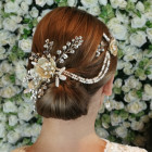 Harriet Headpiece - Statement pale gold bridal headpiece in two parts (comb and pin) linked by pretty pearl drapes. Pale gold mesh flowers with beautiful arching sprays of glittering diamante, unusual stick pearls and swarovski crystals in champagne and clear colours.