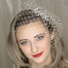 Ellie Birdcage Veil - Vintage style ivory bridal birdcage veil on a small comb that can be simply tucked behind any wedding headpiece