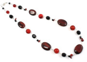 Zanzibar Necklace - Shades of red in this fashionable and chunky gemstone designer necklace from Julieann