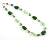 Moss Necklace - A lovely mix of soft green glass beads in a fashion necklace.