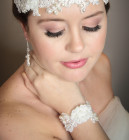 Julia Lace Bridal Cuff  - Handmade bridal lace cuff bracelet. Embellished with luxurious freshwater pearls, a cluster of pretty chiffon flowers, tiny glass seed beads and sparkling clear Swarovski crystals.
