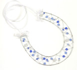 Blue Crystal Horseshoe - A designer handmade lucky bridal horseshoe with crisp cool blue Swarovski crystals