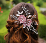 Heidi Comb - Statement floral wedding comb with stunning mesh flowers in soft blush. Teamed with unusual stick pearls, tapering sprays of glittering diamante and sprigs of freshwater pearls and antique rose crystals.