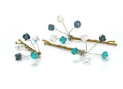 Bermuda Grip - High impact Crystal Bridesmaids hair grip in aqua blues Swarovski crystals. Designed and handmade by Julieann.