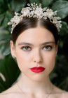 Persephone Floral Tiara - Wedding tiara featuring pale gold and dainty ivory silk flowers which mingle with sprays of delicate real pearls and tiny beads in mixed metallic shades.