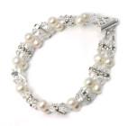 Imogen Bracelet - An elegant double stranded pearl and diamante designer wedding bracelet