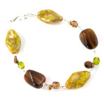 Harvest Bracelet - Muted olive and rich chocolate browns in this hand made glass bead bracelet from Julieann.