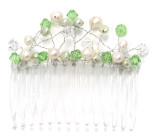 Peridot Comb - Very pretty designer pearl and pastel green crystal bridesmaids comb from Julieann.