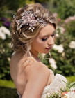 Abigail Headpiece - Statement bridal comb and pin with pretty freshwater pearl drapes featuring soft blush mesh flowers with sprays of diamante, pearls and Swarovski crystals in clear, blush shades.