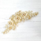 Hetty Headpiece - Pale gold lace floral bridal headpiece lovingly embellished with ivory freshwater pearls, silk flowers, hand beaded flowers and Swarovski crystals. On a wire frame that allows you to mould the wedding headpiece to suit.