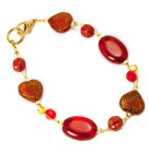 Valentino Bracelet - Rich gold textured scarlet red heart glass bead bracelet
