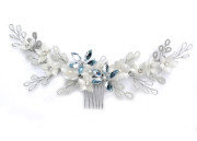 Gardenia Comb - Bridal Garland on a small comb. Ivory silk velvet flowers teamed with sprays of the daintiest glass beads in ivory, silver and soft grey with palest forget-me-not blue sparkling flowers.