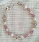 Blush Bridal Bracelet - Beautiful blush bridal bracelet handmade from pink and ivory pearls, rose and silk Swarovski crystals with glittering diamante discs.