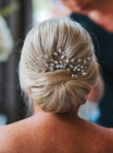 Angharad Comb - Dazzling diamante symmetrical bridal comb with glittering arching sprays that radiate from a small easy to wear comb
