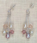 Blush Bridal Earrings - Chandelier bridal earrings with cascades of soft pink and ivory freshwater pearls plus rose and silk Swarovksi crystals
