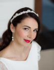 Flavia Lace Headband - Narrow handsewn ivory lace wedding headband embellished with ivory freshwater pearls and exquisite hand crafted crystal and silver florals.