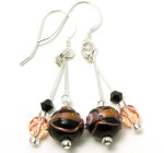 Soft Midnight Earrings - Fashion earrings with Venetian wedding cake glass beads in shades of black and peach