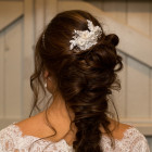 Alice Comb - A one-off - stunningly pretty lace, pearl and genuine vintage button bridal comb