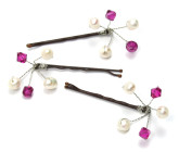 Fuchsia Grip - In singles or in clusters, these Swarovski crystal and pearl hair accessories will look fabulous on your bridesmaids.