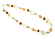 Barley Necklace - Autumnal oatmeal and brown glass bead fashion necklace