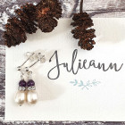 Amethyst Whisper Earrings - Perfect for ladies who prefer smaller earrings; the mix of luxe dainty drop shaped freshwater pearls with a little piece of purple polished Amethyst gemstone and tiny bit of diamante glitter works so well together.