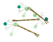 Gorgeous Green Grip - Frothy sprays of lovely green crystals in a bridesmaids hair grip.