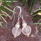 Rosy Pearl Earrings - Gemstone earrings handmade in UK from glossy pale pink milky rose quartz hearts, luxurious ivory real freshwater pearls, delicate glittering diamante discs and tiny pink sparkling Swarovski crystals.