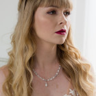 Elizabeth Necklace - Simplicity and beauty in a bridal necklace complete with a pearl and diamante pendant