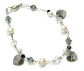 Charcoal Charm Bracelet - Sparkle and shine in this pretty bridesmaids charm bracelet with stunning black diamond Swarovski crystal hearts.