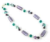 Iris Necklace - Designer teal and lilac glass bead fashion necklace inspired by our beautiful garden.