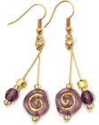 Claret Swirl Earrings - Sumptuous glass bead fashion earrings with purple glass swirls