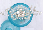 Sylvie Floral Comb - Beautiful pearl bridal comb inspired by the roses and gypsophila from my cottage style garden.