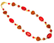 Valentino Necklace - Rich scarlet and gold coloured glass bead fashion necklace