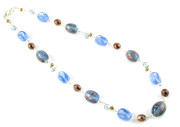 Denim Necklace - Stunning blue and copper/bronze coloured glass bead necklace