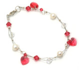 Cherry Charm Bracelet - Cherry red crystal heart charms swing gracefully on this pretty bridesmaids bracelet designed and handmade by Julieann