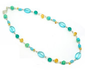 Adrieanne Necklace - A fashion necklace full of summer colours of teal and gold glass beads