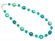 Aqua Speckle Necklace - Get noticed wearing the deep aqua and teal glass bead splendour of this fashion necklace.