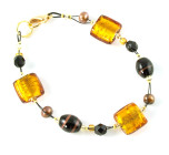 Sahara Bracelet - Vibrant gold, black and bronze glass bead designer bracelet