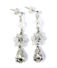 Cecily Earrings - Sparkle in these handmade crystal and diamante wedding earrings. A glittering floral centre has a beautiful diamante drop below and sparkling clear crystal above. Bridal earrings articulated into three parts for maximum light.