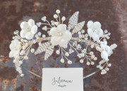 Isabella Floral Headband - Ivory floral wedding headband with silk velvet flowers, silver and ivory beaded leaves entwined with sprays of delicate freshwater pearls.