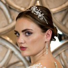 Felicity Headband - Bridal Headband with sparkling floral side feature. Glittering diamante and crystal wedding headband handmade in Shropshire