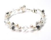 Camille Bracelet - Camille is a simply stunning statement bridal bracelet set with stunning Swarovski diamante and freshwater pearls