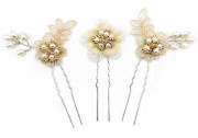 Sophie Pins - Soft champagne lace flower and leaf wedding pin with a beautiful handmade pale gold and pearl beaded centre. These stunning bridal pale gold pins are completed with a freshwater pearl spray.